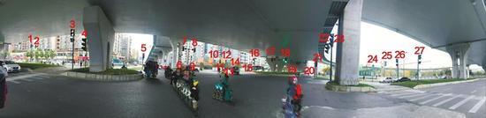 全景图片中有27盏红绿灯,还有10盏未入镜。