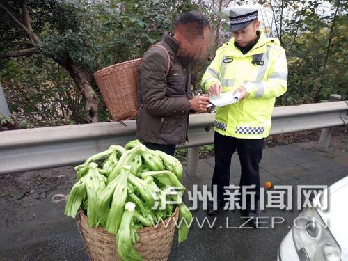 泸州男子为赶场竟走上高速路 民警拦下进行安全教育