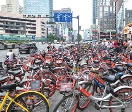 成都共享单车约138万辆 部分路段超量投放现象严重