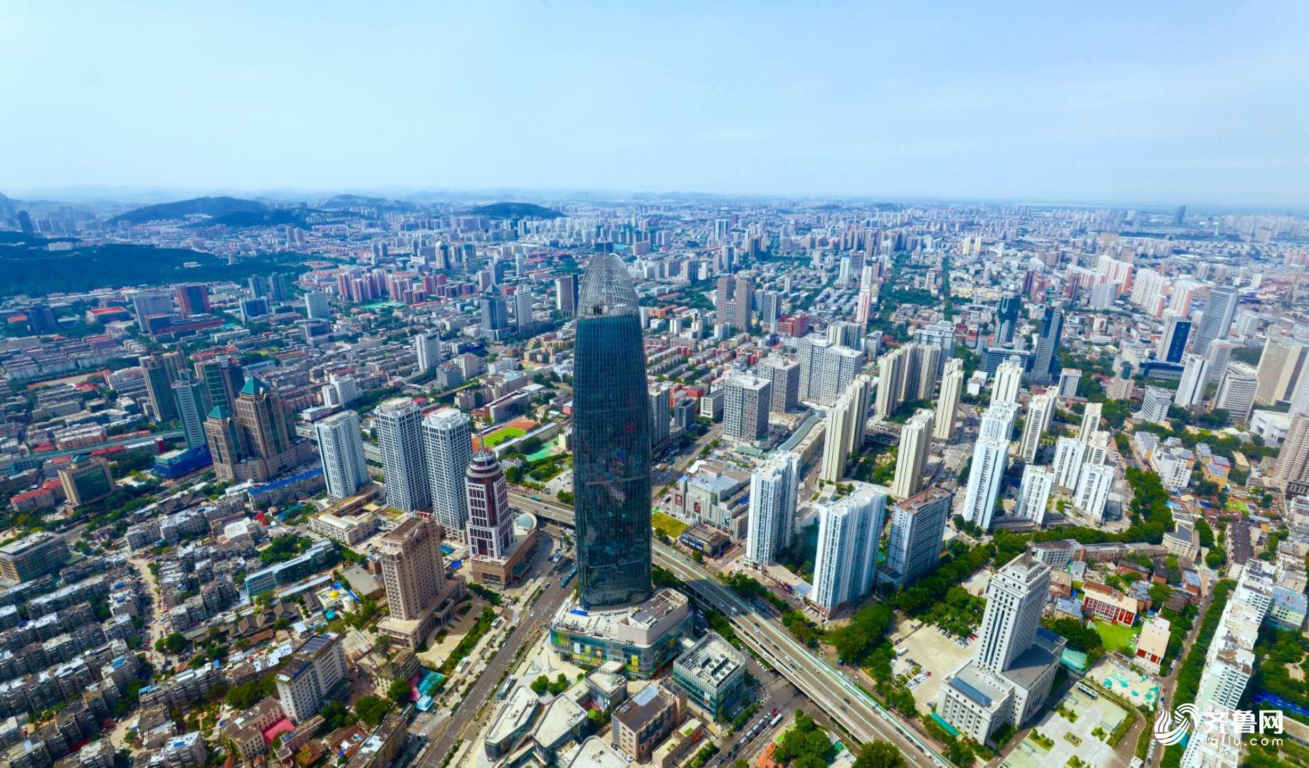 航拍直升机带你领略2000米高空下的济南城