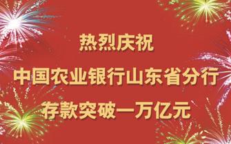 农业银行山东省分行存款突破一万亿