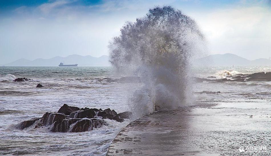 温比亚凑热闹 青岛现10米巨浪