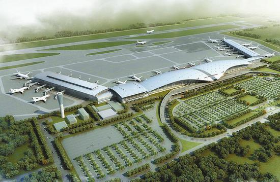 济南机场航站区扩建北指廊工程鸟瞰效果图
