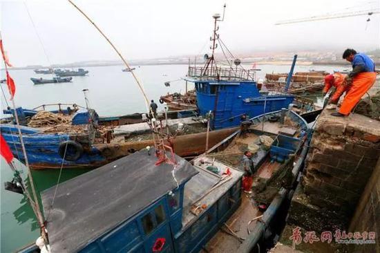 即墨区田横岛、岙山渔港等沿海一带的渔船归岸停靠
