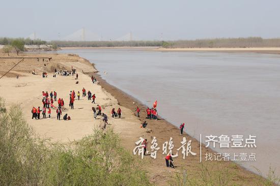 3月22日上午,世界水日当天,来自省市多个部门的志愿者在黄河边捡拾垃圾。