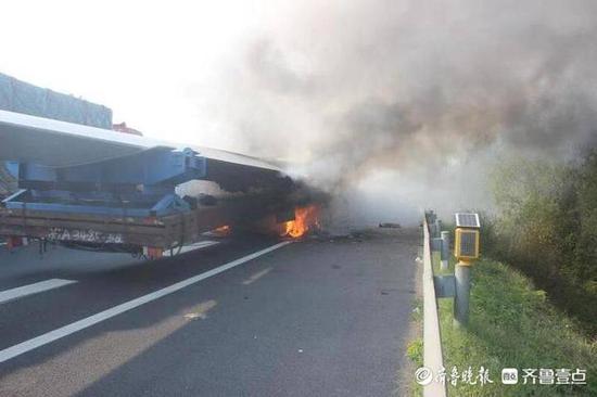 《【摩登2安卓版登录】临沂一半挂车轮胎起火 70余米风力发电机叶片被引燃》