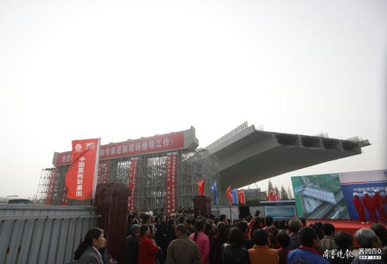 特大桥合龙 转体桥完成转体 枣菏高速明年有望通车