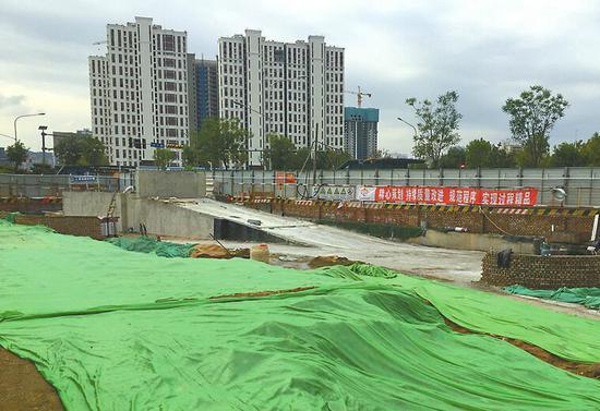 停车场地下部分主体结构已完工