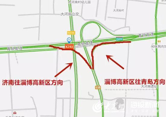 济青北线淄博高新区南侧匝道封闭示意图