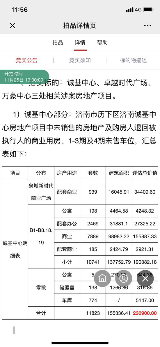 济南诚基中心 万豪及卓越时代广场涉案房产25日拍卖