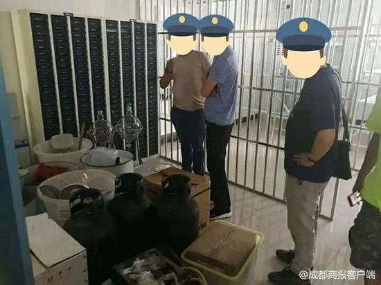 ▲警方缴获的制毒工具