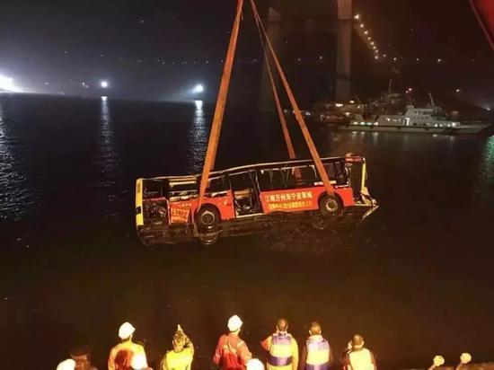 ▷22路公交车10月31日晚被打捞出水