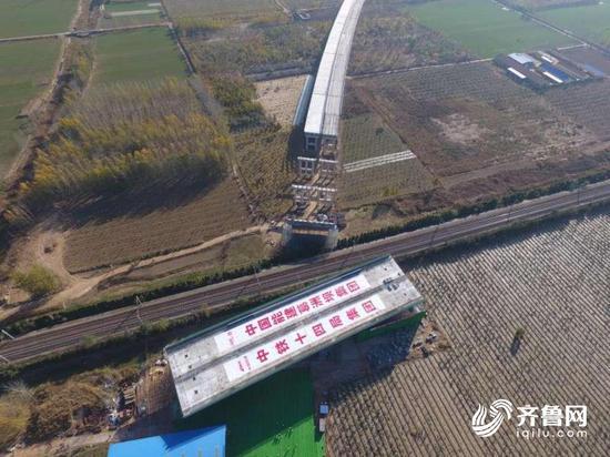 历时60分钟 枣菏高速跨京九转体桥顺利完成转体