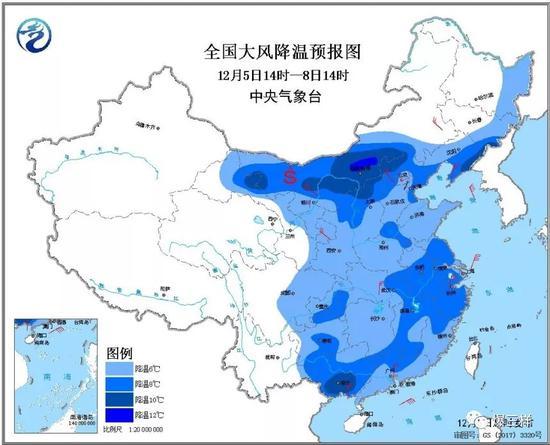 山东省气象台于5日11时30分发布寒潮蓝色预警信号和海上大风黄色预警信号