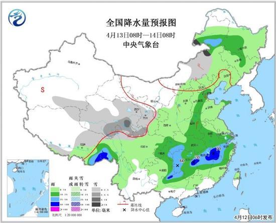 全国降水量预报图(4月13日08时-14日08时)
