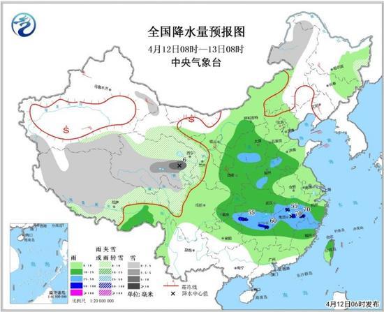 全国降水量预报图(4月12日08时-13日08时)