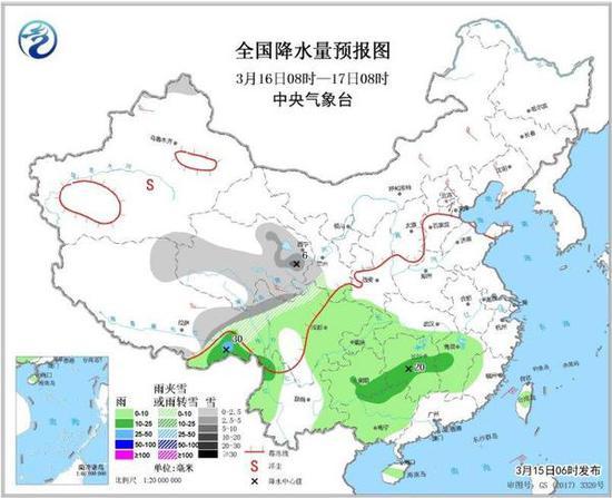 全国降水量预报图(3月16日08时-17日08时)