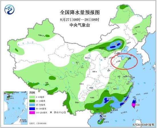 全国降水量预报图(8月27日08时-28日08时)