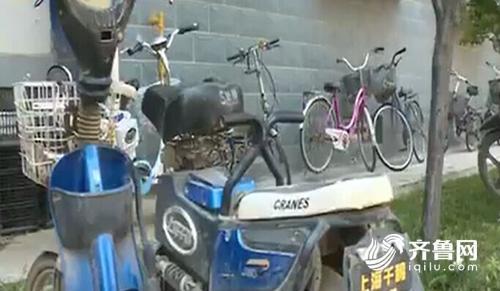 济南市枫景公寓小区一夜间十几个电瓶被盗(视频截图)