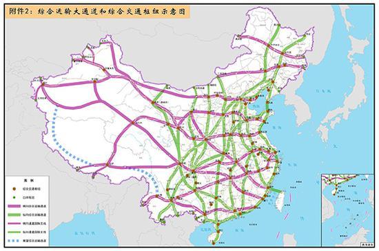 """""""十纵十横""""综合运输大通道,《""""十三五""""现代综合交通运输体系发展规划》。"""