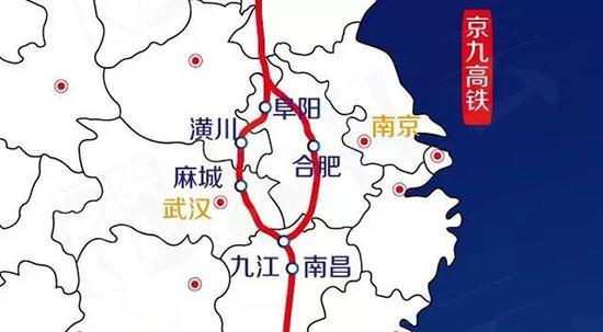 此前湖北媒体披露的京九高铁线路。 长江云微信公众号图