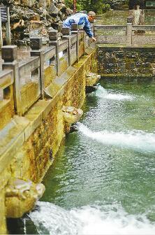 10日,阴雨天气已经持续了5天,降雨补充了地下水源,在护城河畔黑虎泉,三个兽头的泉水喷涌势头强劲。 首席记者王锋 摄