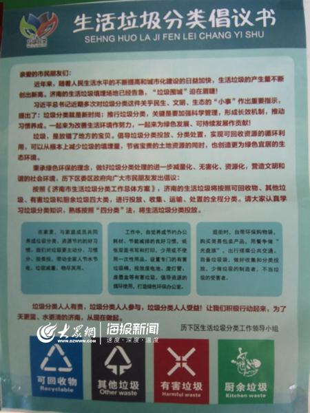 济南去年6月正式施行生活垃圾分类技术规范,2800余家单位强制实施垃圾分类