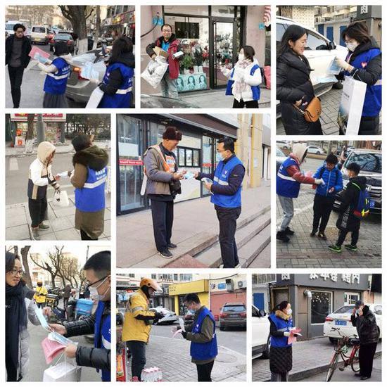 威海志愿者上街进 社区劝导 分发口罩