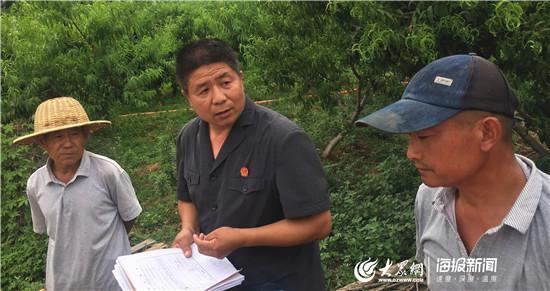 杨锋法官(中)在桃园里为当事人调解纠纷。