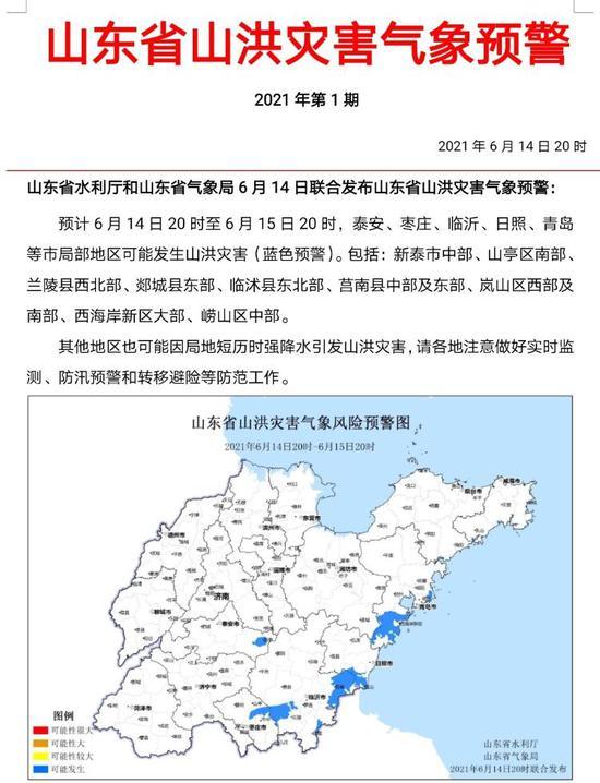 山洪 地质灾害 暴雨三预警齐发 山东这些地方要防范