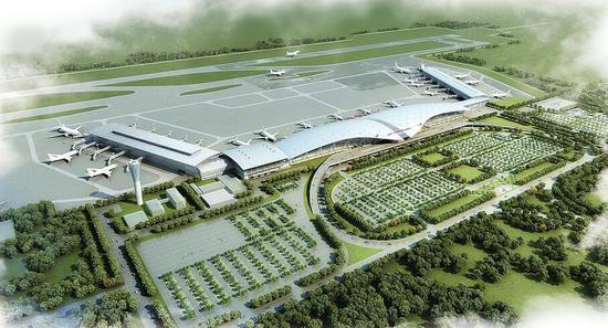 济南机场北指廊建成后的鸟瞰效果图。