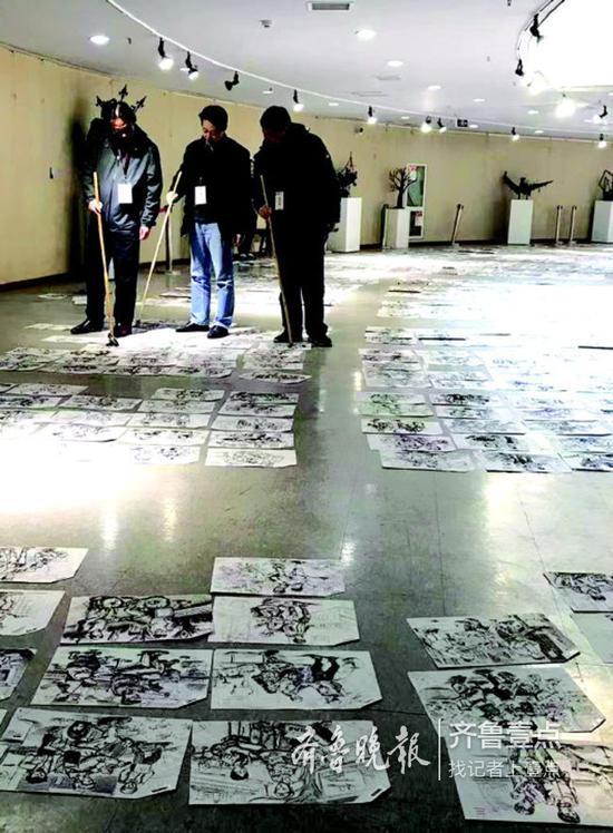山艺美术类专业速写科目阅卷现场。