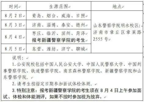 8月2日起开始体检 山东2020公安院校公安专业招生面试体检体能测评考生须知发布