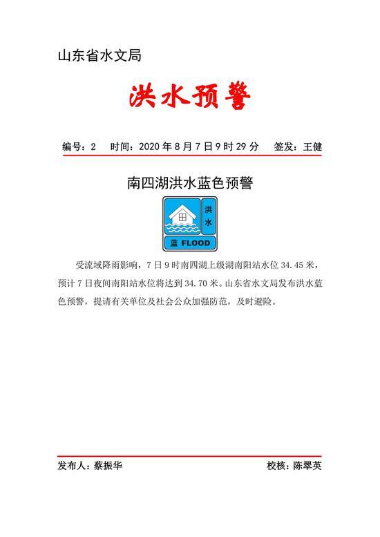 山东省水文局发布南四湖洪水蓝色预警