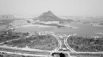 华山湖成为济南城市新地标。