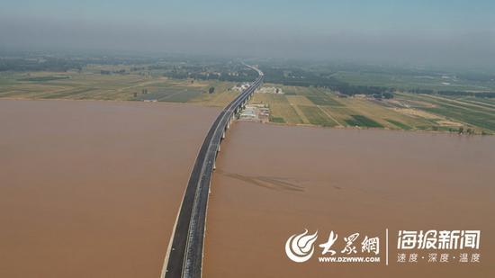 菏宝高速东明黄河公路大桥航拍图