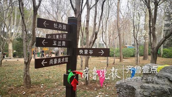 百花公园的提示牌主要以道路引导为主,科普树牌相对较少。记者 张淑芬摄