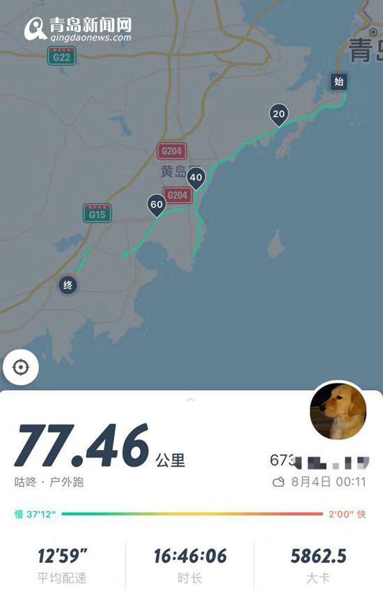 徒步第三天,徐清军和儿子徐炜哲的徒步路程与时间。