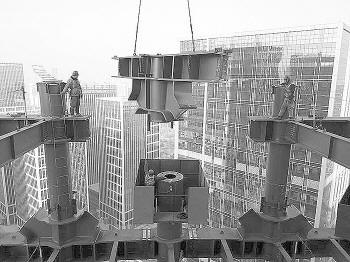 钢结构在空中精准对接。项目方提供