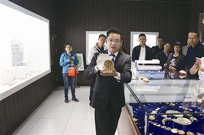 ▲李宗鉴展示鹦鹉螺贝壳标本。郑文斌 摄