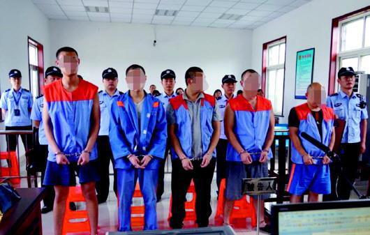 被告人徐某、孟某等五人受审。(平度法院供图)