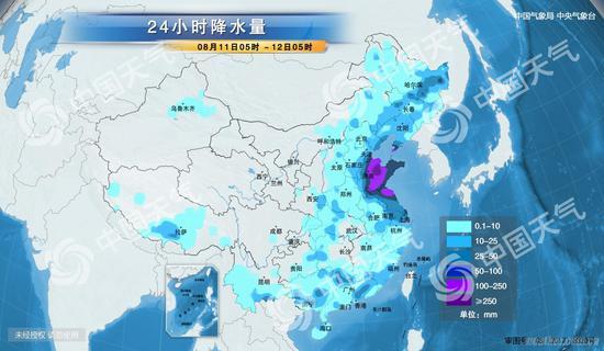 24小时降水量图(来源:中国天气网)