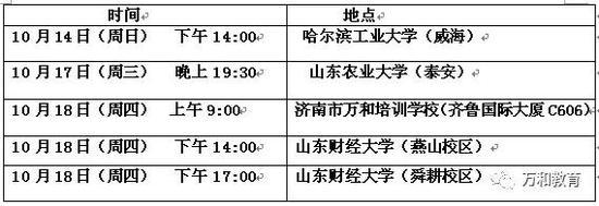 10月18日周四上午9点在济南市万和培训学校(齐鲁国际大厦C606室)