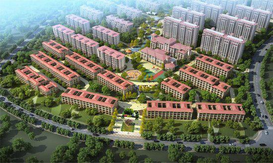 毛公地社区旧村改造项目(南区)规划变更后的鸟瞰图。