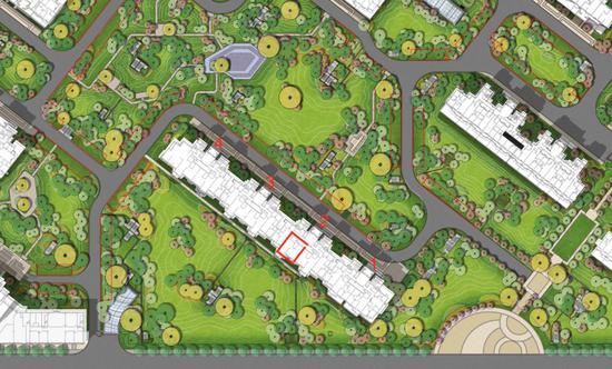 如今的维多利亚湾宣传单页,红框处的绿地已经划上了车位。(业主供图)