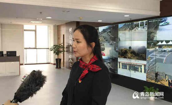 崂山区文旅委公共服务中心应急科科长蔺肖恩接受采访。