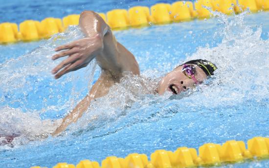 15分6秒30 山东选手程龙全运会男子1500米自由泳夺金