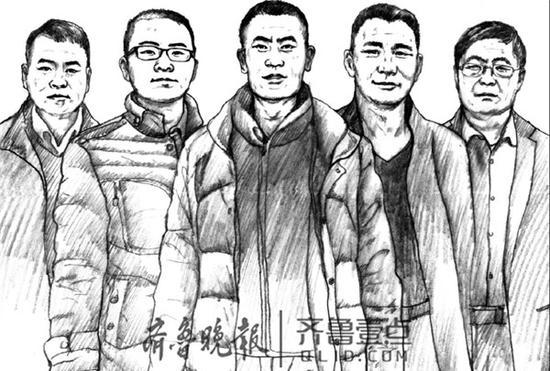 左起,宋凤强、张宝杰、张中强、李东升、孙汝金
