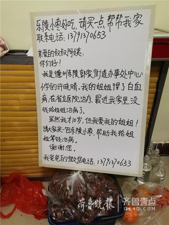 晓晴卖枣是用的募捐牌。齐鲁晚报·齐鲁壹点 记者 戚云雷 摄