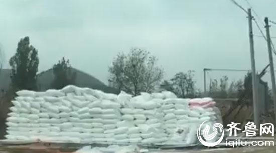 在每家粉条加工厂的门口,都会堆放着小山般的木薯粉。(视频截图)